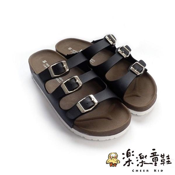 【樂樂童鞋】台灣製三帶三釦親子拖鞋-黑 C031-1 - 現貨 台灣製 拖鞋 大童拖鞋 親子鞋 大童鞋