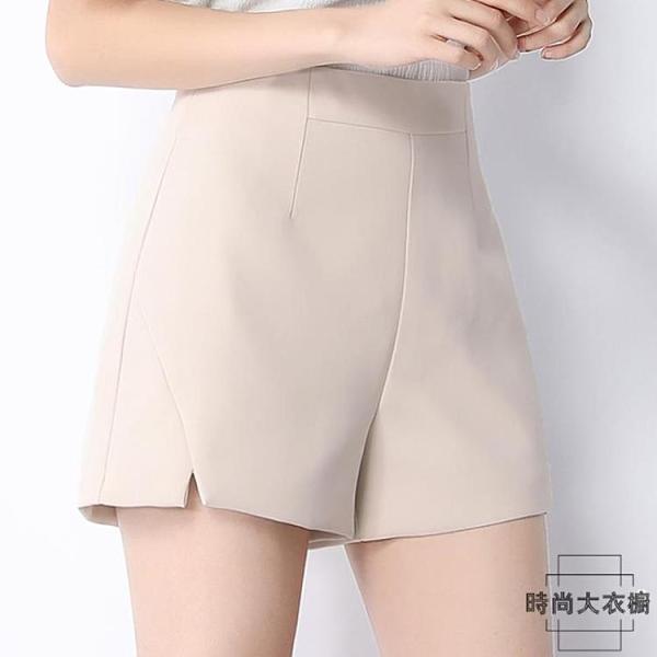 西裝短褲女夏高腰雪紡顯瘦闊腿黑色a字寬鬆【時尚大衣櫥】