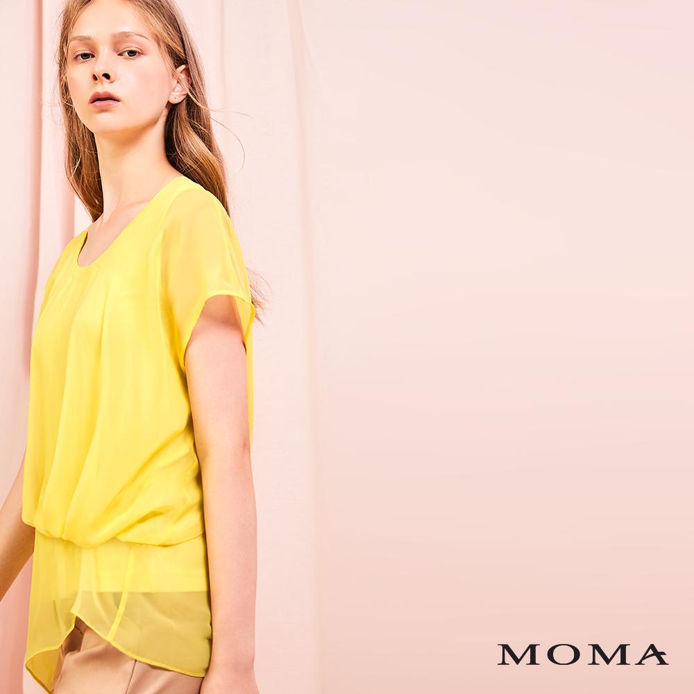 MOMA(01G090)抓褶落肩上衣