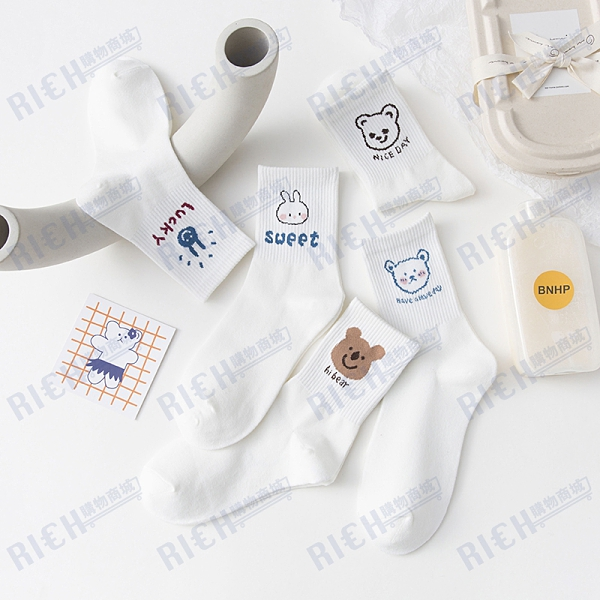 韓國ins潮卡通動漫中筒襪日系甜美可愛少女學院風運動棉襪子