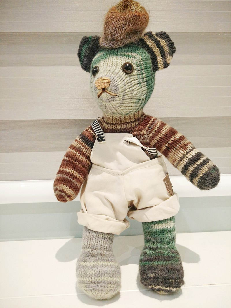 熊愛家族熊阿宅手工編織泰迪熊knitted teddy bearテディベア