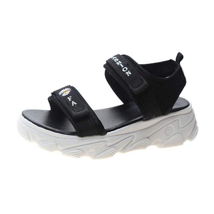 小雛菊運動中跟涼鞋女仙女風ins潮2021年夏季新款鬆糕厚底羅馬鞋