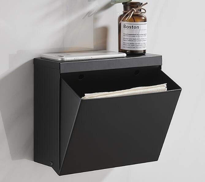 免打孔廁所紙巾盒黑色不銹鋼衛生間廁紙盒家用防水卷紙抽紙架壁掛 AT
