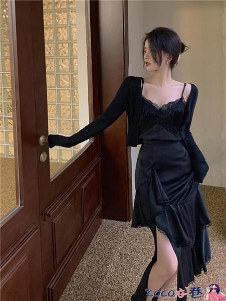 熱賣半身魚尾裙 不規則半身裙女2021新款春季高腰中長款裙子氣質赫本風黑色魚尾裙【618 狂歡】