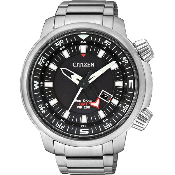 CITIZEN PROMASTER 光動能雙時區腕錶-黑/46mm BJ7081-51E【比漾廣場】