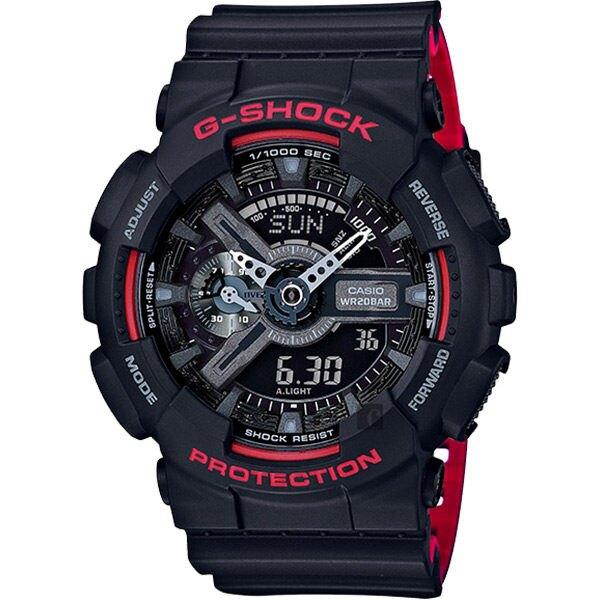 CASIO 卡西歐 G-SHOCK 人氣經典紅黑雙顯手錶 GA-110HR-1ADR / GA-110HR-1A