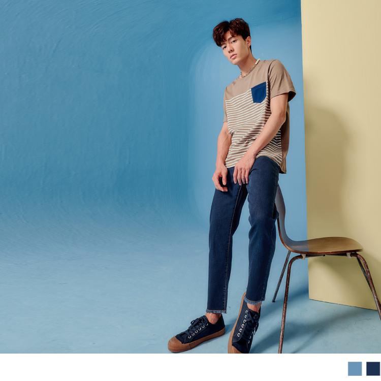 下襬抽鬚簡約率性牛仔褲