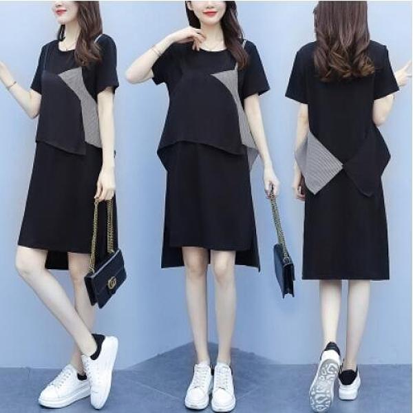洋裝裙子中大尺碼L-5XL大碼寬鬆拼接純棉T卹連身裙4F004-9190.胖胖唯依