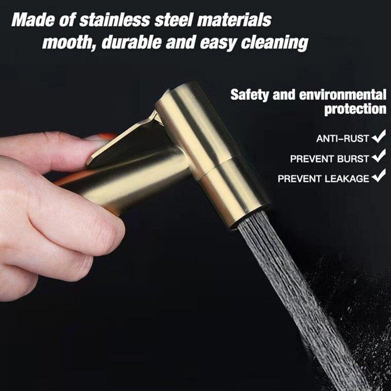金色馬桶噴槍套裝衛生間304噴槍水龍頭婦洗器全鋼清潔水槍