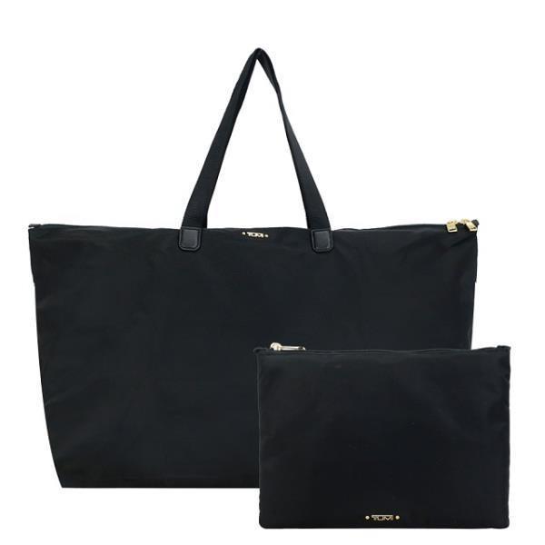 TUMI VOYAGEUR TOTE系列尼龍輕便摺疊收納旅行袋(黑X金)