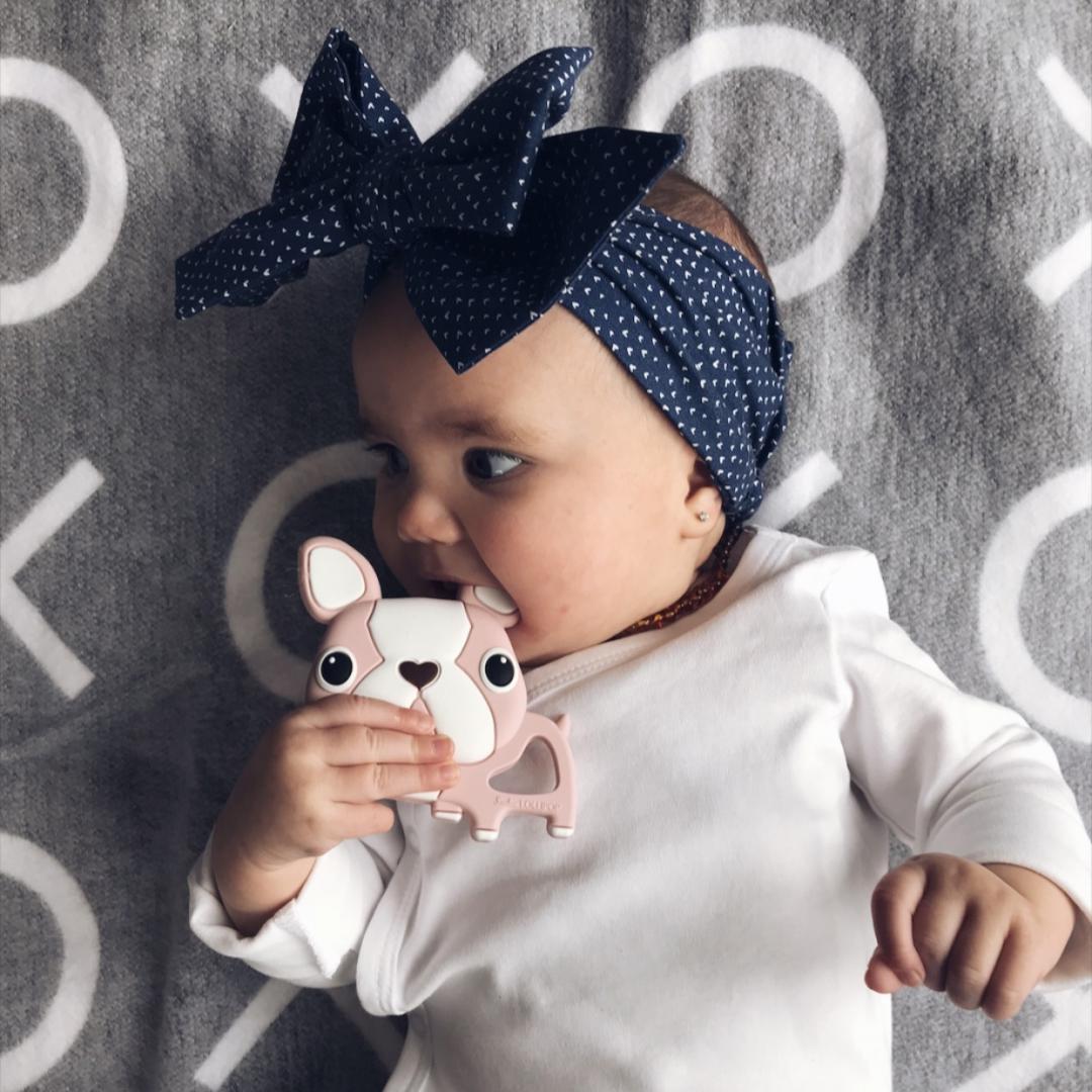 【Loulou lollipop】加拿大嬰幼兒夢幻固齒器-黑色鬥牛犬固齒器