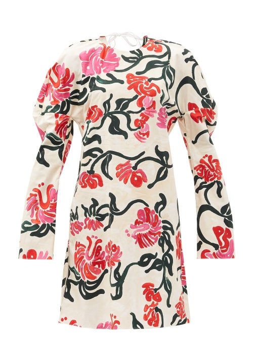 Marni - Curved-sleeve Tropical-print Cotton-poplin Dress - Womens - Ivory Multi