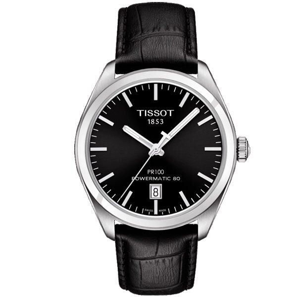TISSOT 天梭 PR100 Powermatic 80 機械手錶-黑/39mm T1014071605100