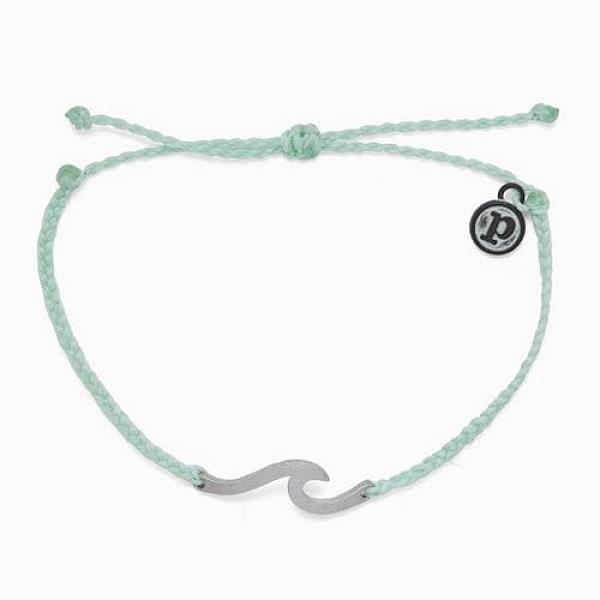 Pura Vida 美國手工 HAMMERED WAVE 銀錘WAVE 嫩綠蠟線衝浪手鍊手環