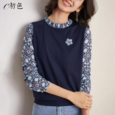 初色  假兩件造型上衣-寶藍色-(M-2XL可選)