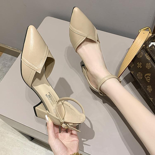 2021春季新款百搭尖頭女鞋仙女風高跟鞋粗跟中跟包頭一字扣涼鞋女 韓國時尚 618