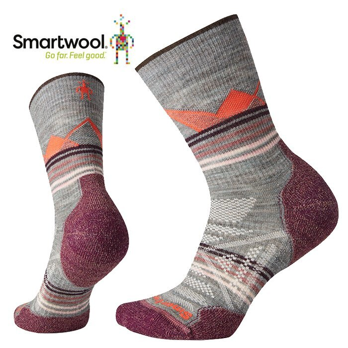【Smartwool 美國】PhD Outdoor Light Print 戶外輕量避震印花中長襪 羊毛登山襪 運動襪 女款 月光灰 (SW001526E47)