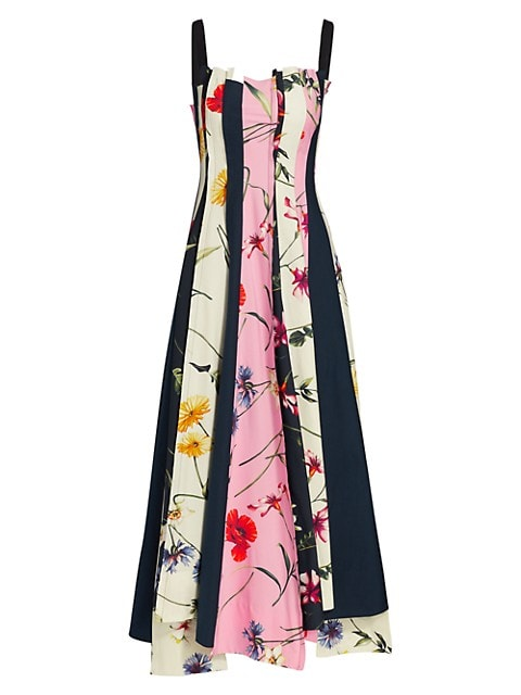 Squareneck Floral Panel Midi Dress