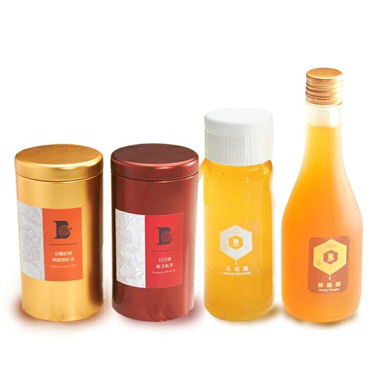 比漾選物_甜蜜茶香組合_玉桂蜜+蜂蜜醋+紅玉紅茶+阿薩姆紅茶【比漾廣場】
