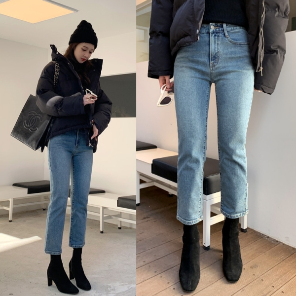 長褲.韓國街頭百搭高腰顯瘦提臀牛仔褲.白鳥麗子