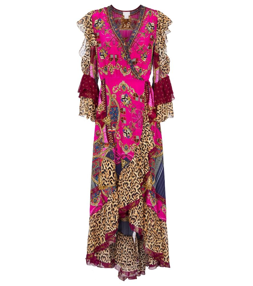 Embellished printed silk maxi dress
