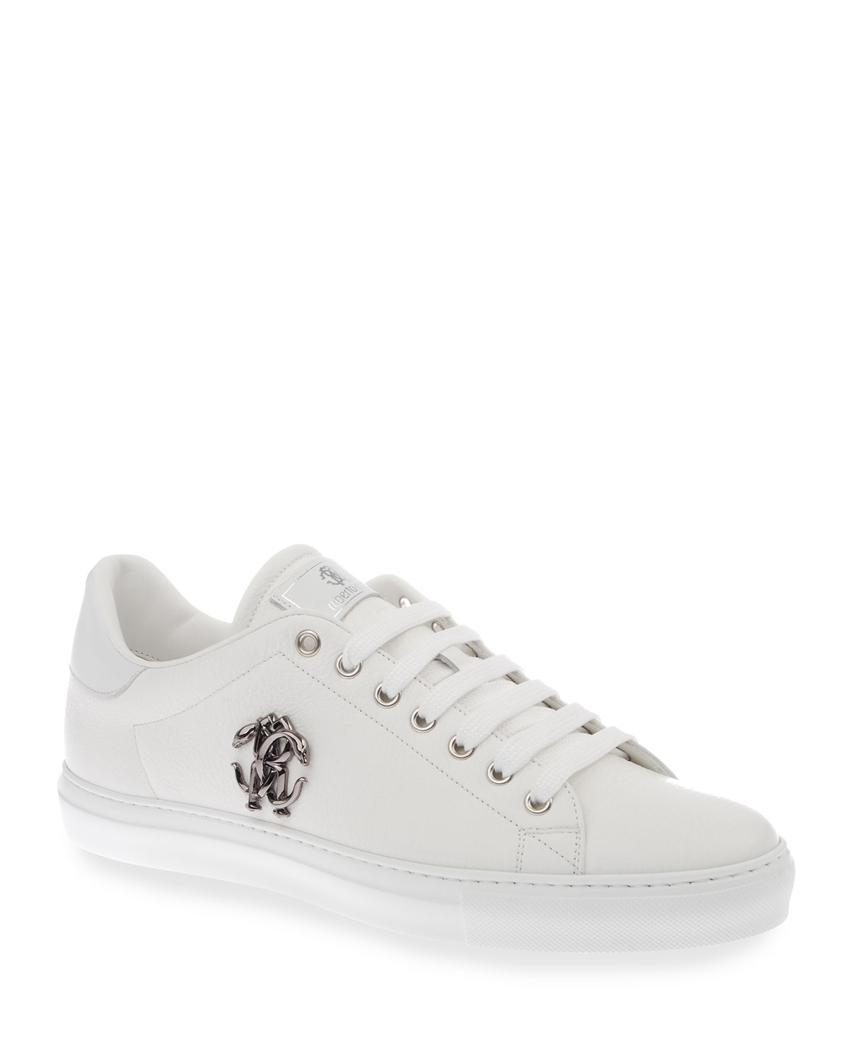 Men's Logo Leather Low-Top Sneakers, White