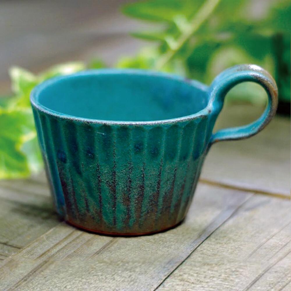 日本益子燒 - 青綠燻刻紋提耳杯
