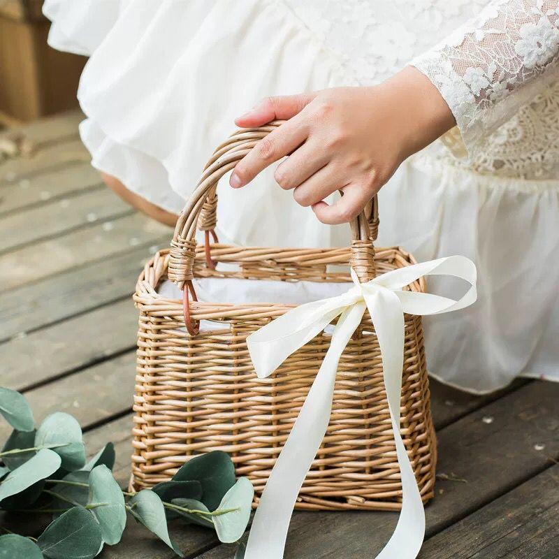 藤編花籃手提包韓國編織菜籃子布襯柳編新款女包夏日竹編