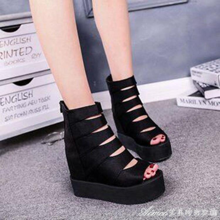 魚嘴鞋2018夏季新款女鞋韓版防滑厚底鬆糕鞋坡跟內增高魚嘴涼鞋羅馬鞋