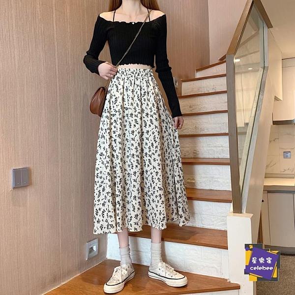 A字裙 半身裙 碎花裙春秋夏季女裝垂感半身裙2021新款中長款裙子雪紡高腰a字裙