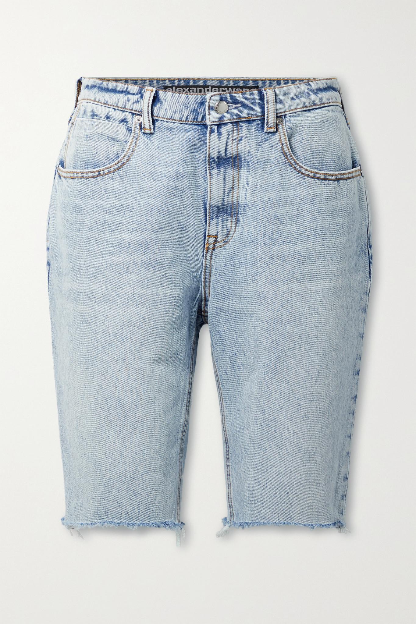 ALEXANDER WANG - Distressed Denim Shorts - Blue - 25