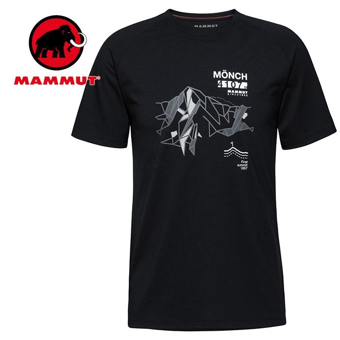 【Mammut 長毛象 瑞士】Mountain 短袖排汗衣 運動上衣 男款 黑色 (09846-0001)