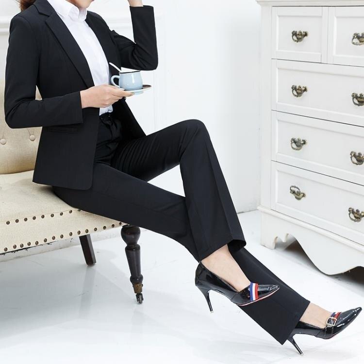 限時85折!西裝褲 直筒褲黑色上班工褲女正裝褲長褲高腰顯瘦職業褲