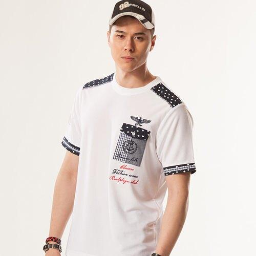 白色藍圓點服飾透過時尚扮演著多樣角色與風情設計男裝長纖圓領款【86585-10】