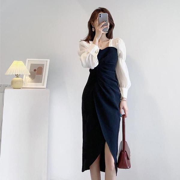 2021年春裝新款法式茶歇設計感小眾禮服裙子泡泡袖方領洋裝春秋 陽光好物