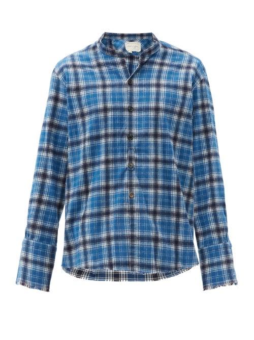 Greg Lauren - Studio Raw-edged Checked Cotton-flannel Shirt - Mens - Blue