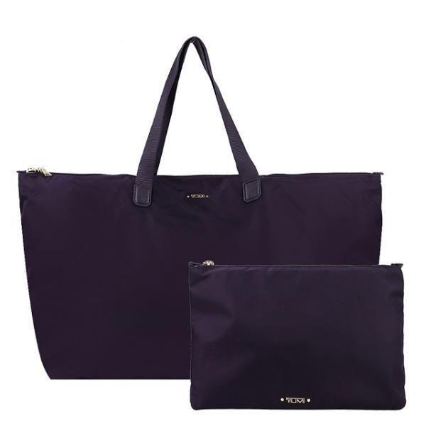 TUMI VOYAGEUR TOTE系列尼龍輕便摺疊收納旅行袋(黑莓紫)