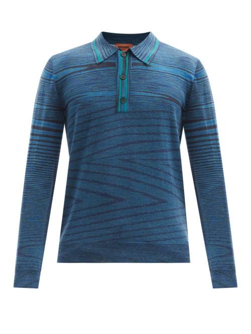 Missoni - Wool-intarsia Polo Sweater - Mens - Navy