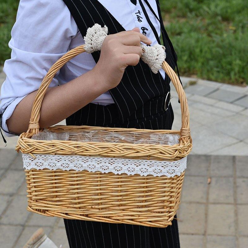 花籃藤編手提花童拍攝包裝鮮花花籃籃子竹編編制