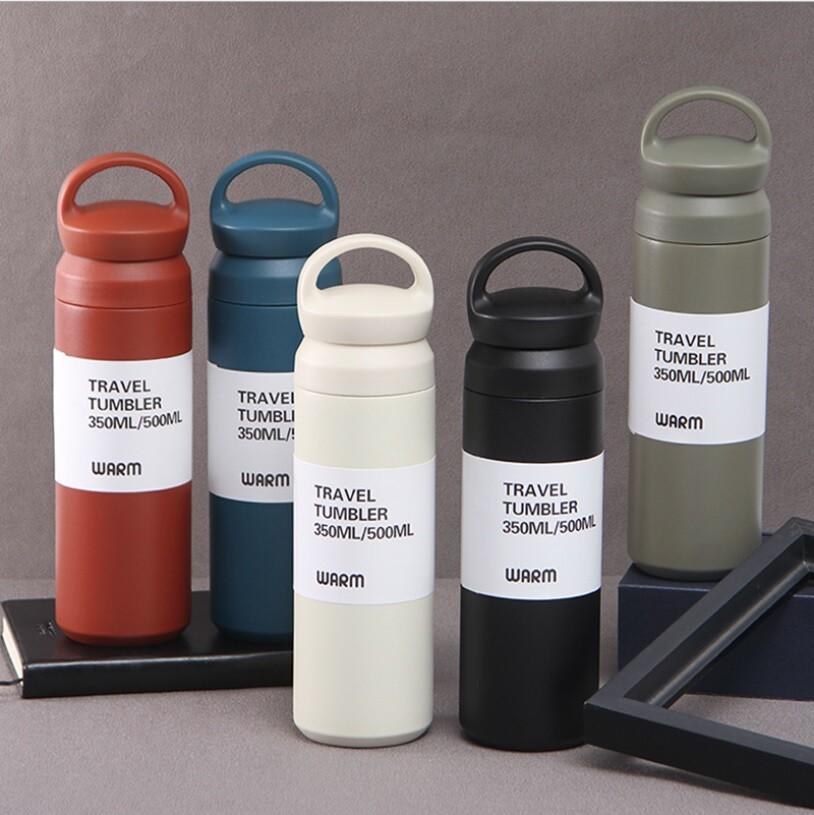 日系風格304雙層不銹鋼保溫杯 手提保溫杯 保冷杯 (500ml)