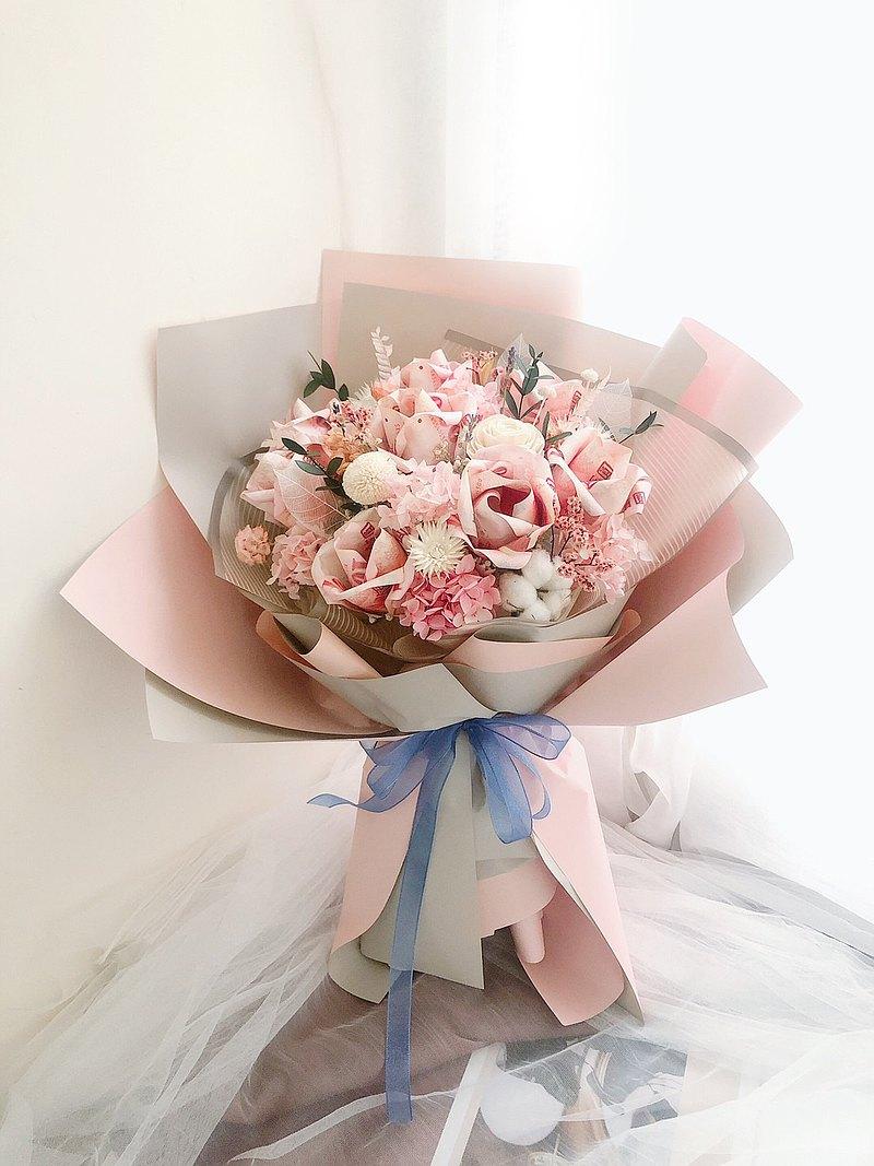永生花 永生玫瑰花 乾燥花 紀念日禮物 鈔票花束 求婚花束 告白