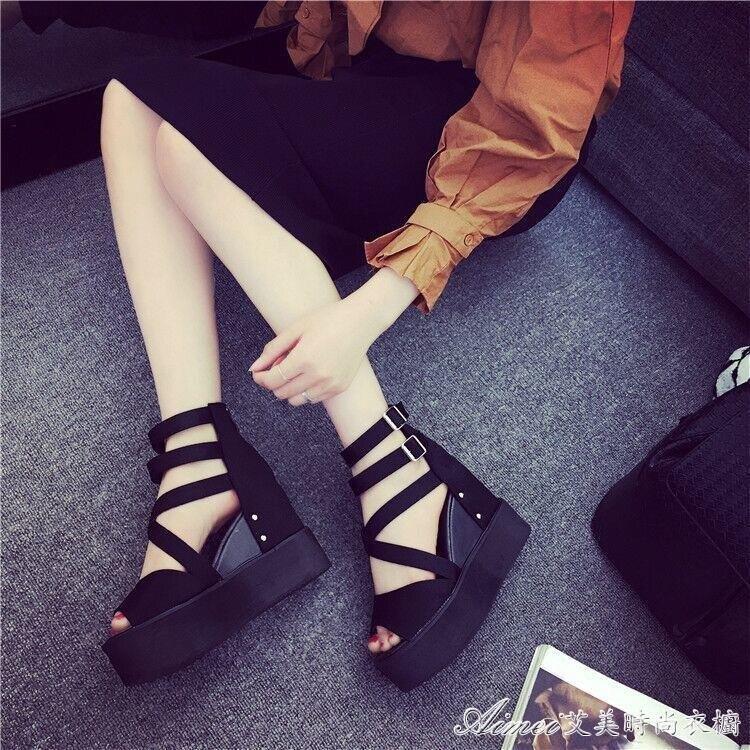 魚嘴鞋【精品】韓版厚底內增高涼鞋女夏季新款女鞋坡跟魚嘴鞋防滑高跟