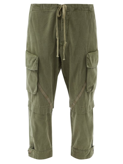 Greg Lauren - Baker Slubbed Cotton-twill Cargo Trousers - Mens - Green