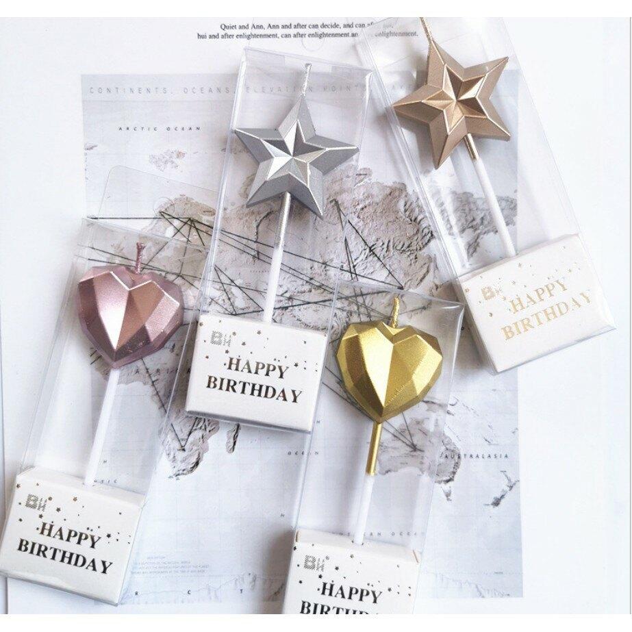 浮誇系 生日蛋糕蠟燭鑽石愛心星形烘培裝飾創意7D立體五角星可愛兒童派對