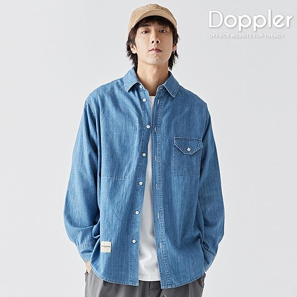 長袖襯衫 日系寬鬆口袋水洗牛仔襯衫 男襯衫【TJLC3015】Doppler 現貨+預購