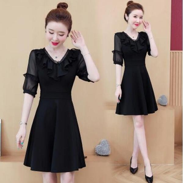 洋裝職業裙中大尺碼L-5XL胖MM時尚V領荷葉邊修身減齡港味連身裙NB30B-9102.皇潮天下