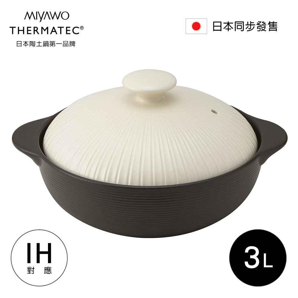 MIYAWO日本宮尾 IH系列9號耐溫差陶土湯鍋3L-經典雛菊(可用電磁爐)