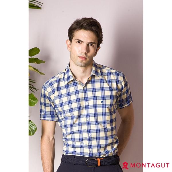 男士短袖襯衫 夢特嬌 休閒格紋款