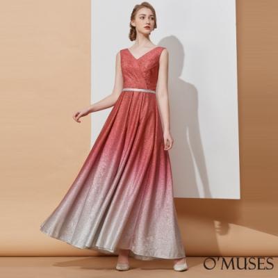OMUSES V領漸層伴娘婚紗紅色長禮服