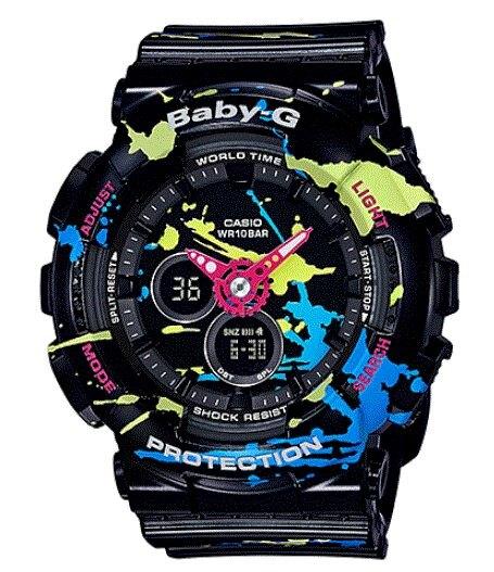 CASIO 卡西歐 Baby-G 街頭玩味潮流炫彩塗鴉潑漆運動錶-黑 BA-120SPL-1ADR